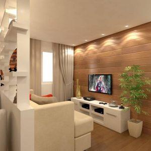 Decoração de sala de TV compacta